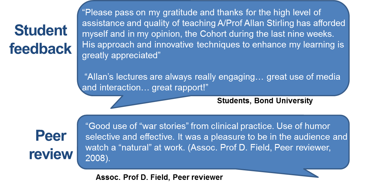 "Please pass on my gratitude and thanks for the high level of assistance and quality of teaching A/Prof Allan Stirling has afforded myself and in my opinion, the Cohort during the last nine weeks. His approach and innovative techniques to enhance my learning is greatly appreciated"" (Students) ""Good use of ""war stories"" from clinical practice. Use of humor selective and effective. It was a pleasure to be in the audience and watch a ""natural"" at work. (Assoc. Prof D. Field, Peer reviewer, 2008)."