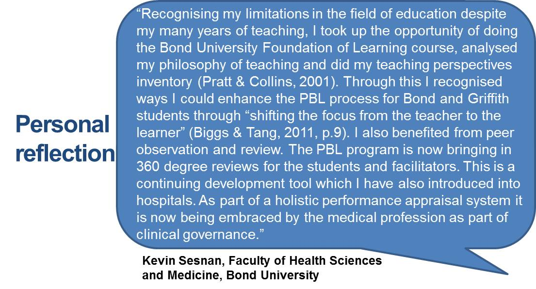 """Recognising my limitations in the field of education despite my many years of teaching, I took up the opportunity of doing the Bond University Foundation of Learning course, analysed my philosophy of teaching and did my teaching perspectives inventory (Pratt & Collins, 2001). Through this I recognised ways I could enhance the PBL process for Bond and Griffith students through ""shifting the focus from the teacher to the learner"" (Biggs & Tang, 2011, p.9). I also benefited from peer observation and review. The PBL program is now bringing in 360 degree reviews for the students and facilitators. This is a continuing development tool which I have also introduced into hospitals. As part of a holistic performance appraisal system it is now being embraced by the medical profession as part of clinical governance."""