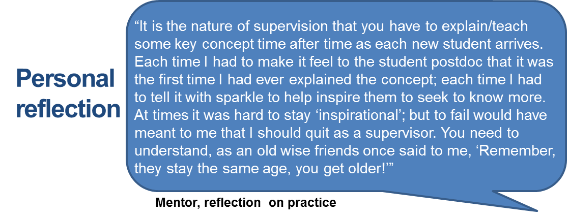 """It is the nature of supervision that you have to explain/teach some key concept time after time as each new student arrives. Each time I had to make it feel to the student postdoc that it was the first time I had ever explained the concept; each time I had to tell it with sparkle to help inspire them to seek to know more. At times it was hard to stay 'inspirational'; but to fail would have meant to me that I should quit as a supervisor. You need to understand, as an old wise friends once said to me, 'Remember, they stay the same age, you get older!'"""