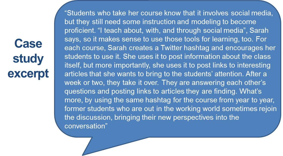 """Students who take her course know that it involves social media, but they still need some instruction and modeling to become proficient. ""I teach about, with, and through social media"", Sarah says, so it makes sense to use those tools for learning, too. For each course, Sarah creates a Twitter hashtag and encourages her students to use it. She uses it to post information about the class itself, but more importantly, she uses it to post links to interesting articles that she wants to bring to the students' attention. After a week or two, they take it over. They are answering each other's questions and posting links to articles they are finding. What's more, by using the same hashtag for the course from year to year, former students who are out in the working world sometimes rejoin the discussion, bringing their new perspectives into the conversation"""