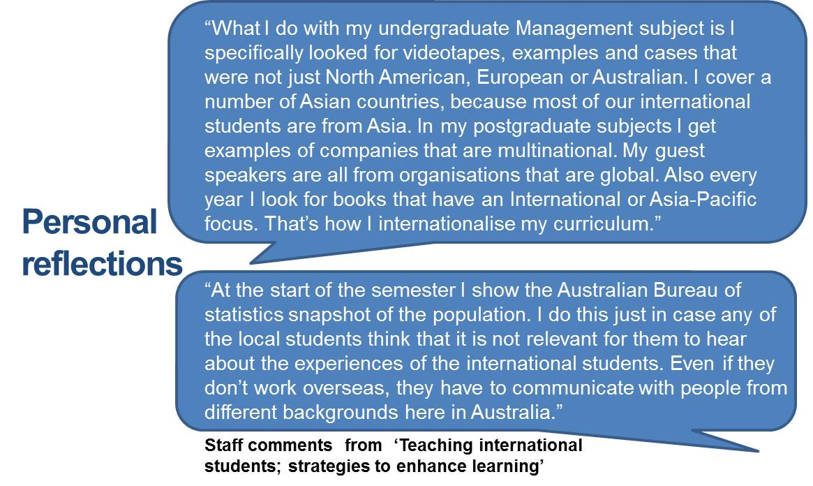 """What I do with my undergraduate Management subject is I specifically looked for videotapes, examples and cases that were not just North American, European or Australian. I cover a number of Asian countries, because most of our international students are from Asia. In my postgraduate subjects I get examples of companies that are multinational. My guest speakers are all from organisations that are global. Also every year I look for books that have an International or Asia-Pacific focus. That's how I internationalise my curriculum."" ""At the start of the semester I show the Australian Bureau of statistics snapshot of the population. I do this just in case any of the local students think that it is not relevant for them to hear about the experiences of the international students. Even if they don't work overseas, they have to communicate with people from different backgrounds here in Australia."""